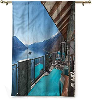 Andrea Sam Darkening Curtain Summer,Terrace with Pool and Lake,35