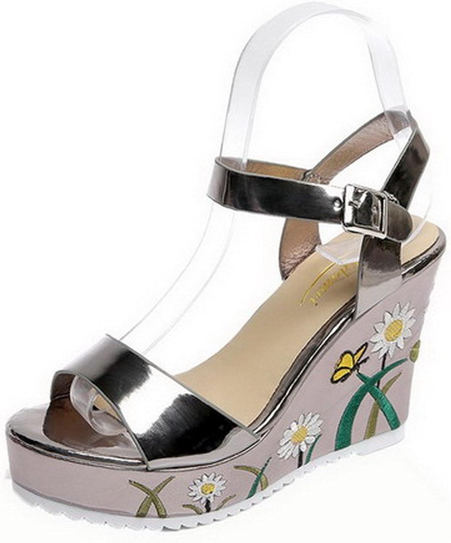 AmoonyFashion Women's PU High-Heels Buckle Open Toe Sandals