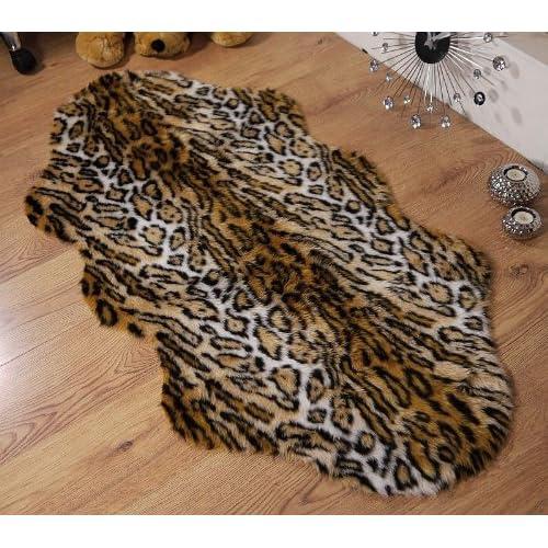 Set of 2 Jaguar /& Zebra Design Animal Print Faux Fur Gift Bags in Cow