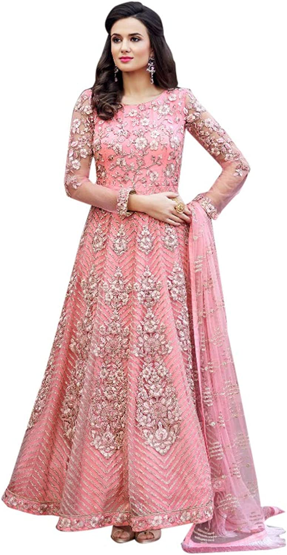 Pink Indian Ethnic Evening Party wear Net Semistitched Anarkali Salwar Suit for Women Bespoke 7766