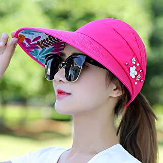 LONGren Wide Brim Sun Hat Visor Cap Foldable Beach Cap, for Holiday Beach Swimming Cycling Camping Hiking (Color : Rose red)