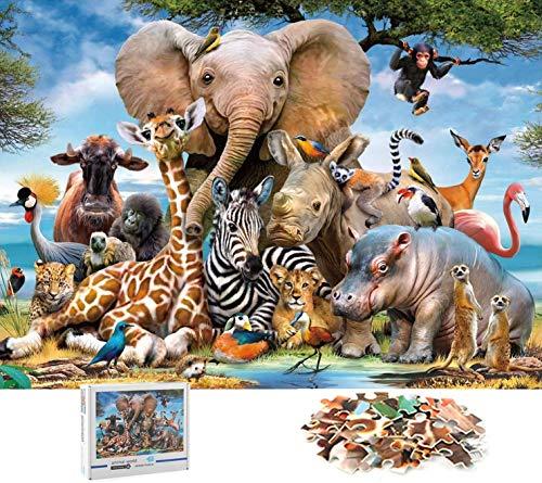 Cangroo Puzzle 1000 Piezas,Rompecabezas Jirafa Elefante Rompecabezas,Rompecabezas de Elefante para Adultos y Niños,Animal Puzzle 1000(70x50cm)