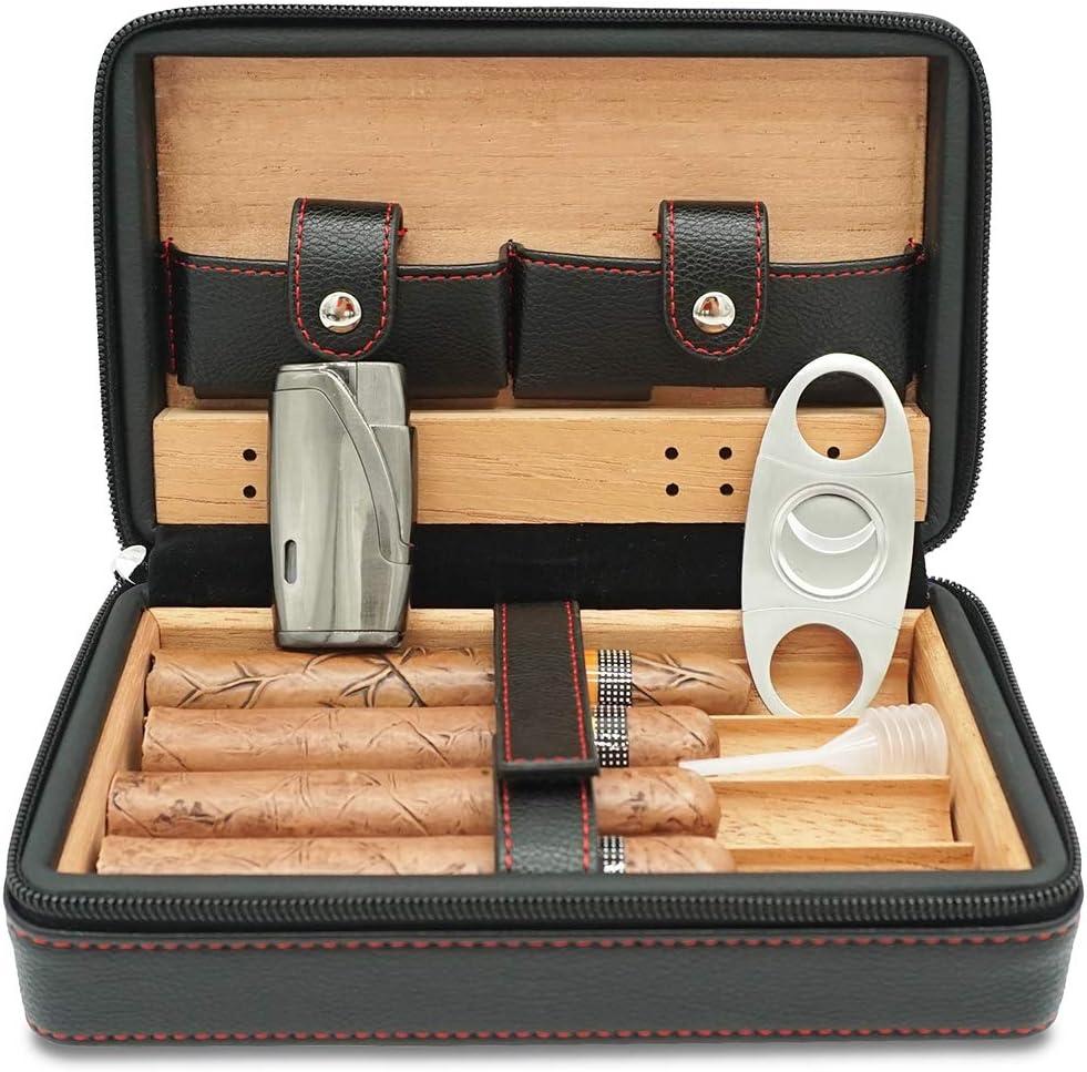 CiTree Animer and price revision Cigar Humidor Case Cedar Regular discount Wood Portable Travel Lea