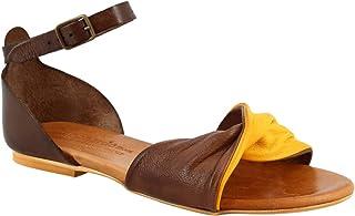 Leonardo Shoes Sandali Bassi da Donna Fatti a Mano in Pelle di Capra Testa di Moro Gialla Cinturino Caviglia - Codice Mode...