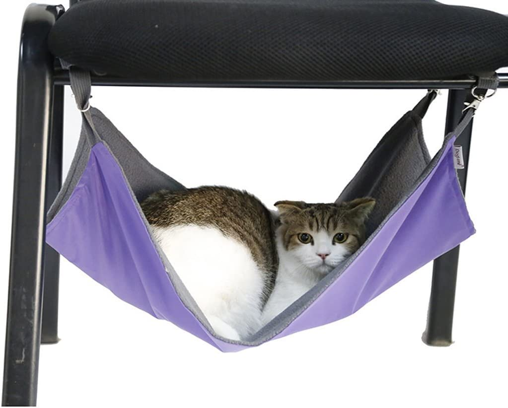 Flannel 2 in 1 Summer/&Winter Reversible Pet Cat Cage Hammock Rabbit Kitten Hanging Bed Cat Crib Cradle Radiator Comforter Basket Cushion Mat Waterproof Oxford Fabric Support Weight up to 15kg