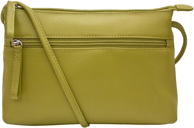 Ili Leather 6667 East West Crossbody Handbag with RFID Lining