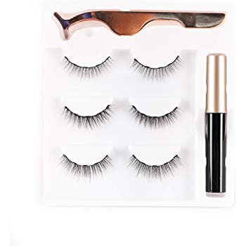 Magnetic Eyeliner and Lashes, Magnetic Lashes Kit, Natural False Lashes 3 Style with Tweezers