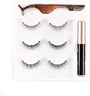 Magnetic Eyeliner and Lashes Magnetic Lashes Kit Natural False Lashes 3 Style with Tweezers