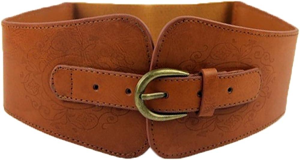 Women/'s Vintage Wide Black Leather Belt Overlay Burnt Orange  Print Contrasting Stitching Boutique Belt