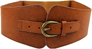 Women Ladies Vintage Wide Faux Leather Totem Print Elastic Stretchy Corset Cinch Belt