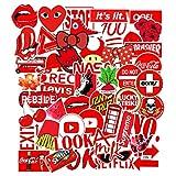 Heatigo Aufkleber , 50 Stückc Graffiti Style Decals für Auto Motorräd Fahrrad Skateboard Snowboard Koffer Laptop Kühlschrank , wasserdicht, schön, stilvoll. (Rot)
