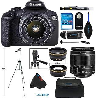 Canon EOS 2000D / Rebel T7 Digital SLR Camera w/ 18-55MM with EF-S 18-55mm f/3.5-5.6 DC III Lens (Black) + PixiBytes Advan...