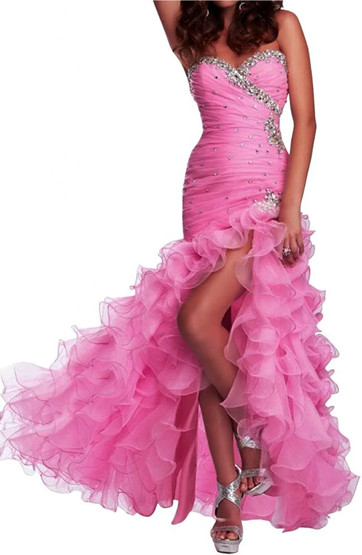 Angel Bride Ruffles Split Sweetheart Organza Prom Celebrity Party Cocktail Dresses