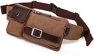 BAOSHA YB-01 Vintage Men's Waist Bag Sports Waist Pack Bum Bag Security Money Waist Day Pack Pouch Hip Belt Bag Bumbag, Ca...