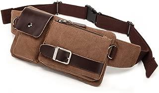 YB-01 Vintage Men's Waist Bag Sports Waist Pack Bum Bag Security Money Waist Day Pack Pouch Hip Belt Bag Bumbag Coffee