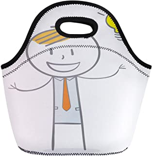Semtomn Lunch Tote Bag Yellow Man Doodle Stick Figure Businessman Big Idea Character Reusable Neoprene Insulated Thermal Outdoor Picnic Lunchbox for Men Women
