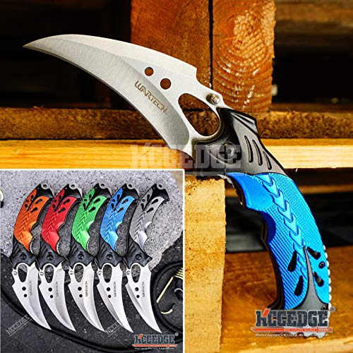 KCCEDGE BEST CUTLERY SOURCE EDC Pocket Knife Camping Accessories Razor Sharp Edge Karambit Folding Knife Camping Gear Survival Kit 56652 (Blue)