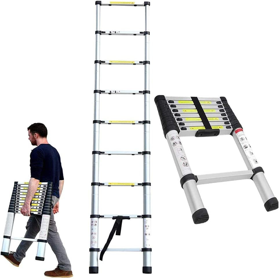 zusammenklappbar 2,6 m f/ür den Innen- und Au/ßenbereich DIY-Projektor ausziehbare Aluminiumleiter Teleskopleiter ausziehbar tragbar Bauarbeiter Mehrzweck-Loft-Leiter