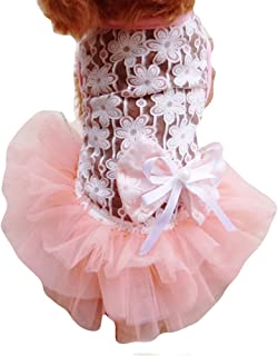 NACOCO Summer Dog Lace Wedding Dress Pet Cute Bubble Skirt Formal Dress Princess Teddy Wear Puppy Pink Flower Clothing