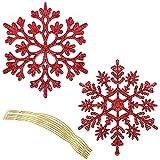 BELLE VOUS Adornos Arbol Navidad Copo de Nieve - Set de 36 Copos de Nieve Purpurina Roja – Decoracion Arbol Colgante - Adornos Navideños de Plástico – Accesorio Decoracion Arbol Navidad