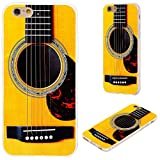 iPhone 6s Case,iPhone 6 Case,VoMotec [Cute Series] Shockproof Anti-Scratch Slim Flexible Soft TPU Protective Skin Cover Case for iPhone 6 6s 4.7 inch,Funny Yellow Acoustic Guitar