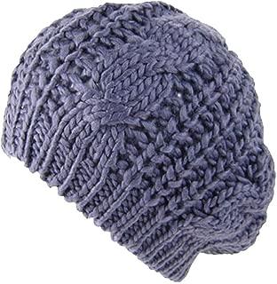 DEE Women Hats,Elegant Beanies Fashion Cap Ladies Beret Simple Braided Lady Glamorous Baggy Beanie Crochet Winter Hat Warm Cap Knitted Hood Caps Outdoor Ski Windproof Cap,Dark Gray,One Size