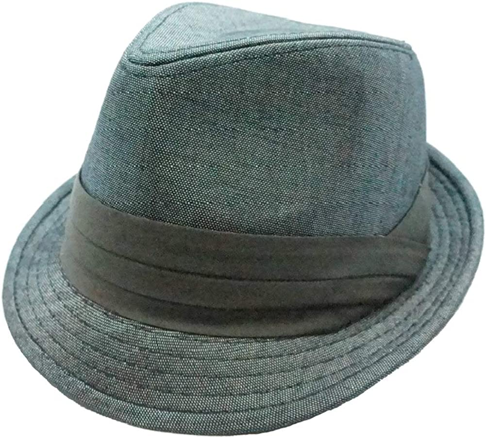 Bruno Capelo Headwear Poly Denim Gray Fedora Hat H-56