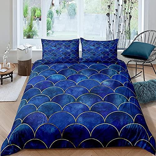 Funda Nordica 240x260 Escamas Azules Suave Microfibra Colchas Cama con 2 Fundas de Almohada 80x80 y Cremallera Resistente Correa Fija Juveniles Infantil Niña