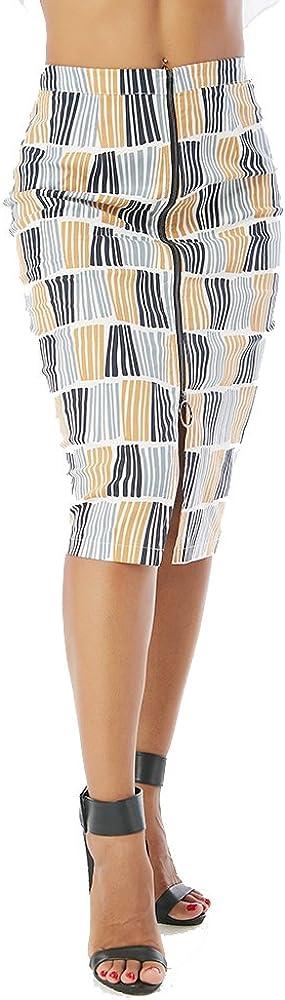 Beauty Garden Women Casual Striped Zip Split Pencil Hobble Skirts for Office