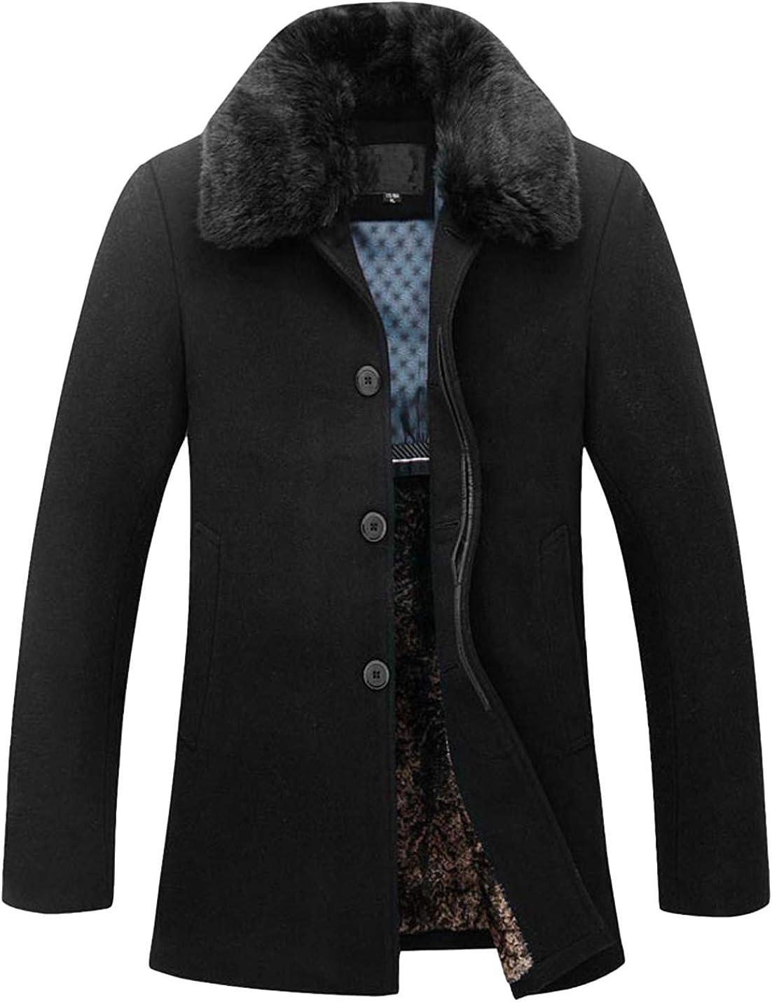 Springrain Men's Sherpa Lining Long Sleeve Winter Wool-Blend Jacket Single Breasted Pea Coat with Detachable Fur Collar
