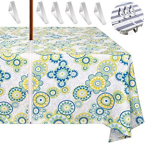 Tovaglia per tavolo da cortile,tovaglia da giardino con foro con 6 Tovaglia clips perfettamente per ombrelloni,robusta,impermeabile, lavabile.con la cerniera si può indossare e toglierlo facilmente
