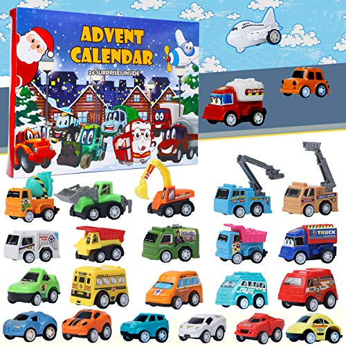 ATDAWN Christmas Advent Calendar with 24 Different Vehicles, Car Advent Calendar for Kids, Car Stocking Stuffer Toys, Countdown to Christmas for Kids Toddlers Teen Boys and Girls