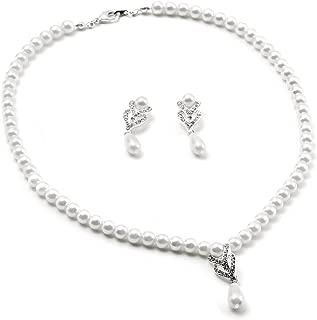 Best teardrop pearl necklace earring set Reviews