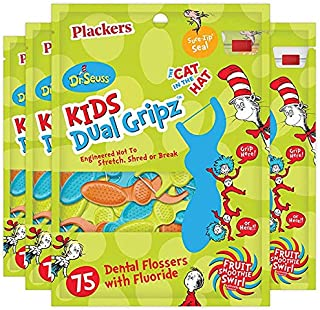 Plackers Kids Dental Floss Picks , 75 Count (Pack of 4), Dr.Seuss Version