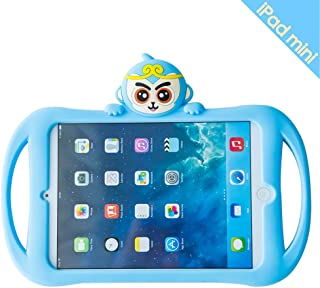 iPad Mini 2/3/4 Case, Bole Cat Case for Kids Handle Silicone Cute Cartoon Monkey Design Shockproof Waterproof with Holder for Children Blue