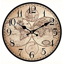 Upuptop World Decorative Large Size Wooden Wall Clock Old Aged Map Home Wall Decor Arabic Numerals Design for Travel Enthusiasm 16