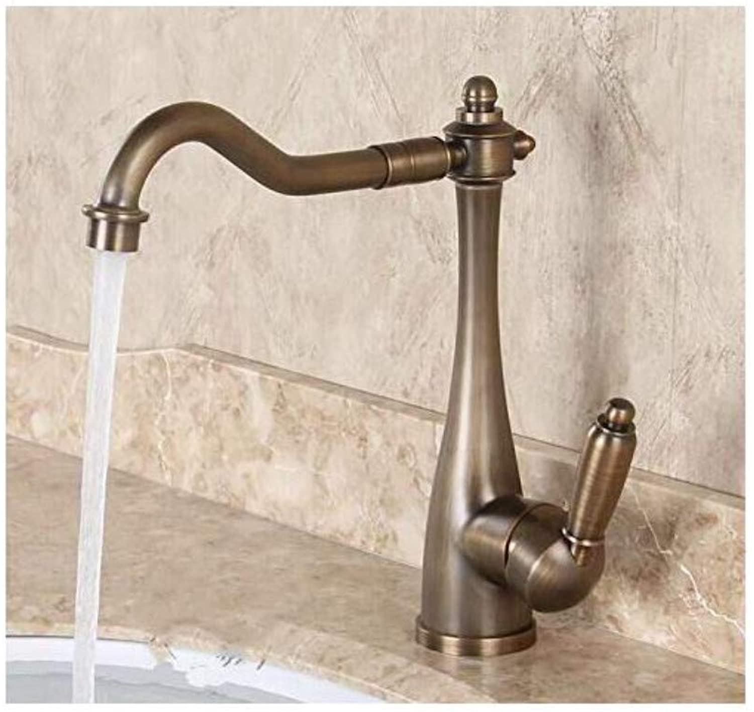 Modern Plated Kitchen Bathroom Faucet Faucet Copper Hot and Cold Ancient Antique Single Handle Single Hole Wash Faucet