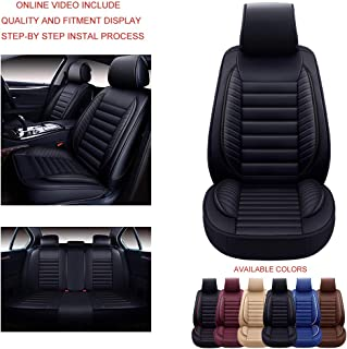 Oasis Auto OS-001 Leather Universal Car Seat Covers Automotive Vehicle Cushion Fits All Sedan Most SUV and Small Pick-Up Truck (Black, Full Set)