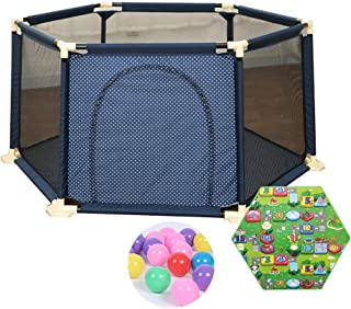 Extra Large Playpen with 200 Balls Baby Play Yard Mattress with Zippered Door Anti-Collision Hexagonal Fence  Size 180 66 5cm