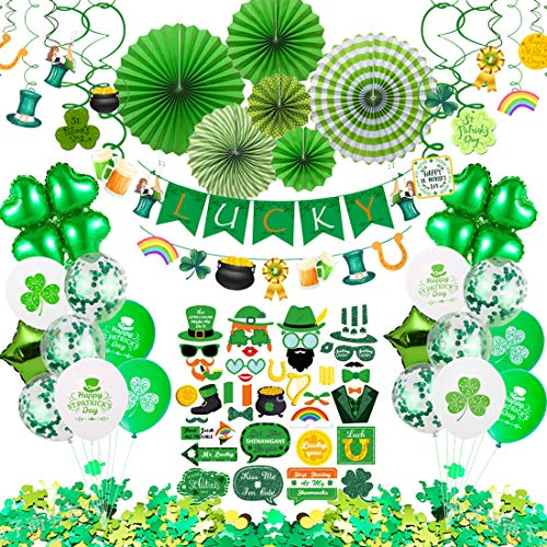 St Patricks Day Decorations 92 Pcs St Patricks Day Accessories for Irish Party Supplies  Including Hanging Swirl Paper Fan Luck Banner Photo Booth Props Confetti and Balloon