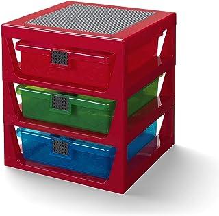 LEGO Étagère de Rangement 3 Tiroirs Rouge Taille Unique