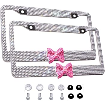 1 Frame Fashion Cute Handmade Clear Frame W//Pink Bowknot Bling Crystal License Plate Frame Luxury Rhinestone Premium Stainless Steel Car//Truck//SUV License Plate Holder for Women,Lady,Girls