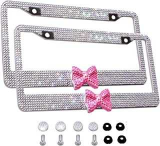 Bling Bling License Plate Frames 2 Pack White Bow - Handmade Waterproof Glitter Rhinestones Crystal Plate Frames for Cars with 2 Holes Screws Caps Set Gift Pink Bowtie