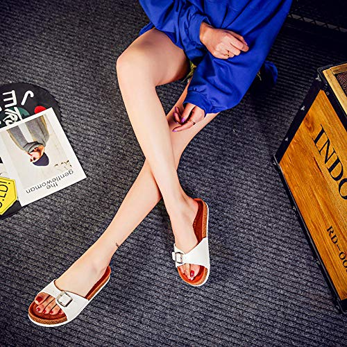 COQUI Zapatillas casa,Nuevas Zapatillas de Corcho Word Drag Mujeres Xia versión Coreana de los Zapatos Populares de Mujeres-Blanco_41