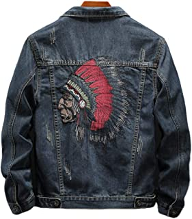 Men's Shirt Spring and Autumn Indian Embroidered Jacket Korean Style Slim Jacket Denim Jacket