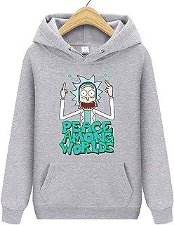Suéter Informal para Hombre Rick Morty Sudadera con Capucha De Personaje De Dibujos Animados con Estampado De Dibujos Animados