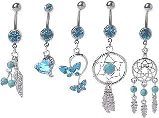 Fucung 5PCs Blue Gem Dream Catcher, Dangle Belly Button Ring, Navel Piercing Body Jewelry