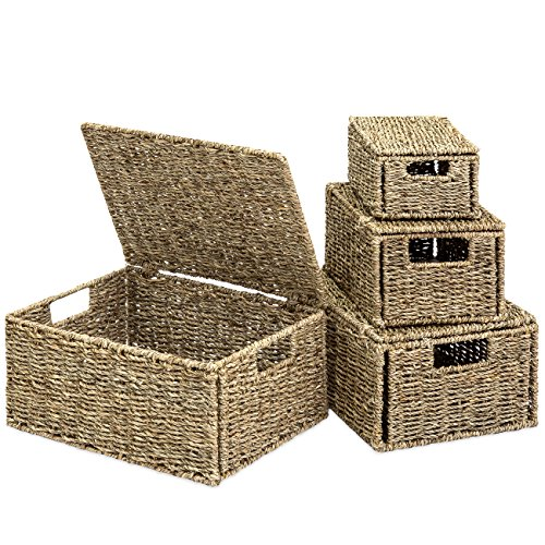 Best Choice Products Woven Seagrass Multi-Purpose Storage Box Baskets for Home Decor, Organization w/Lids, Set of 4, Natural