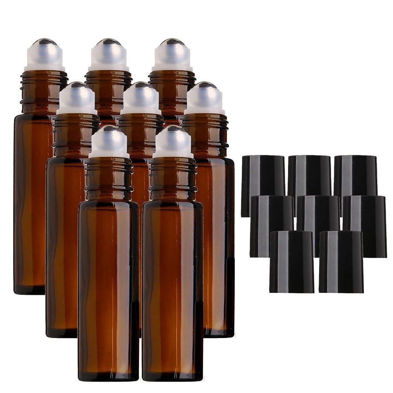 事務所麻痺させる装置DECAI 8個アロマボトル、アロマ保存容器、ガラス瓶、ガラスびん、エッセンシャルオイルボトル、ステンレススチール製メタルボール付き10mlアンバーガラスローラーボトル、エッセンシャルオイル、アロマテラピー香水、液体用ローラーボールボトル用エッセンシャルオイルロールオンボトル