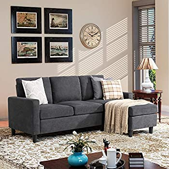 Walsunny Convertible Sectional Sofa Couch with Reversible Chaise L-Shaped Couch with Modern Linen Fabric for Small Space  Dark Grey